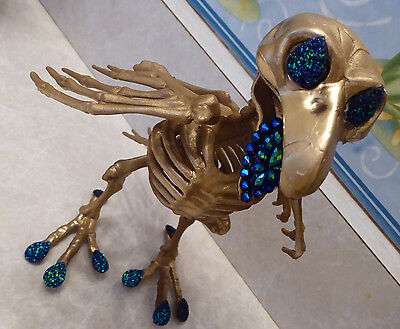 1 Unique Skeleton GOLD Crow PEACOCK Colored Gem Horror Statue Halloween Prop - Halloween Prop Diy