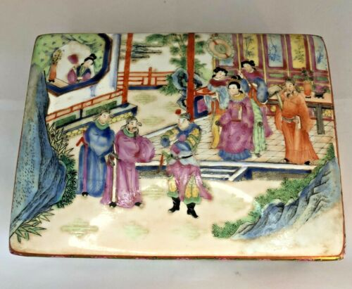 Antique Chinese Hand Painted Porcelain  Box with Mark