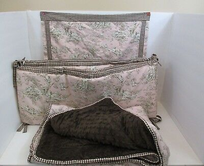 Handmade Precious Girls 3-Piece Baby Bedding Set Pink and Brown Toile (Baby Girl Bedding Sets Pink And Brown)
