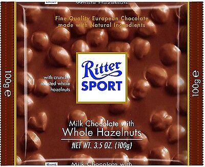 Ritter Sport Bars, Milk Chocolate with Whole Hazelnuts, 3.5 oz bars, 10 ea