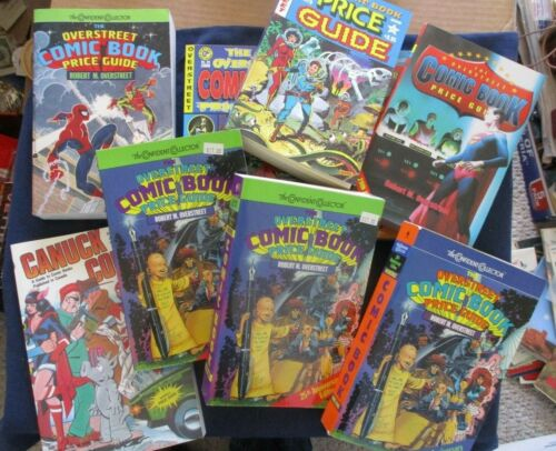 Lot 8 Unused Overstreet Comic Book Price Guides 1979-2000 + 1 Canuck Comic Guide