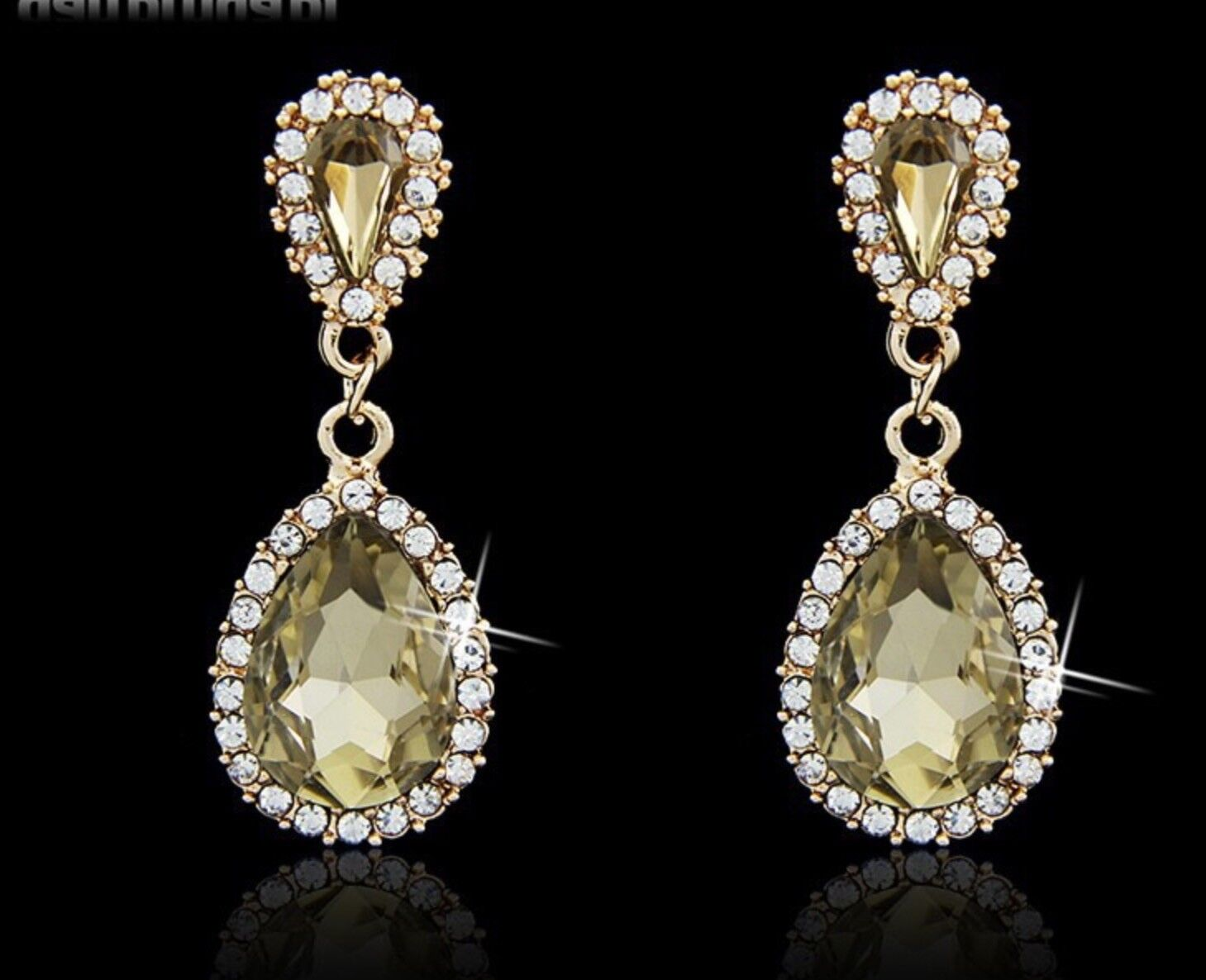 2 Pairs Wedding jewelry rose gold with champagne stone dangl