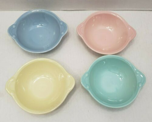 4 Vintage Lu-Ray Pastels Cereal Bowls Tab Handled Soup Bowl Smith & Taylor USA