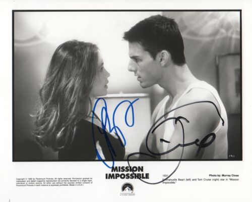 "Tom Cruise & E. Beart ""Mission Impossible"" Autogramm signed 20x25 cm Bild s/w"