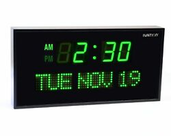 Ivation Big Oversized Digital Green LED Calendar Clock with Day and Date (Green)