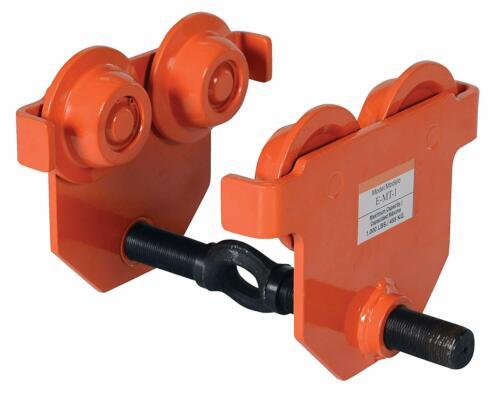 Vestil Low Profile Eye Manual Push Trolley Steel 1000 Lbs Capacity E-mt-1