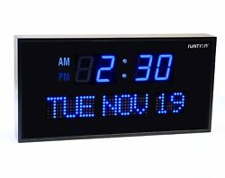 Ivation Big Oversized Digital Blue LED Calendar Clock with Day and Date - Shelf