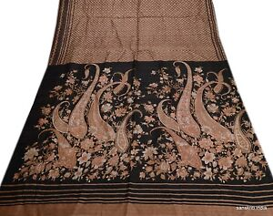 VINTAGE SARI PURE SILK SAREE SOFT DRESS FABRIC CRAFT PAISLEY DECOR PRINTED BROWN