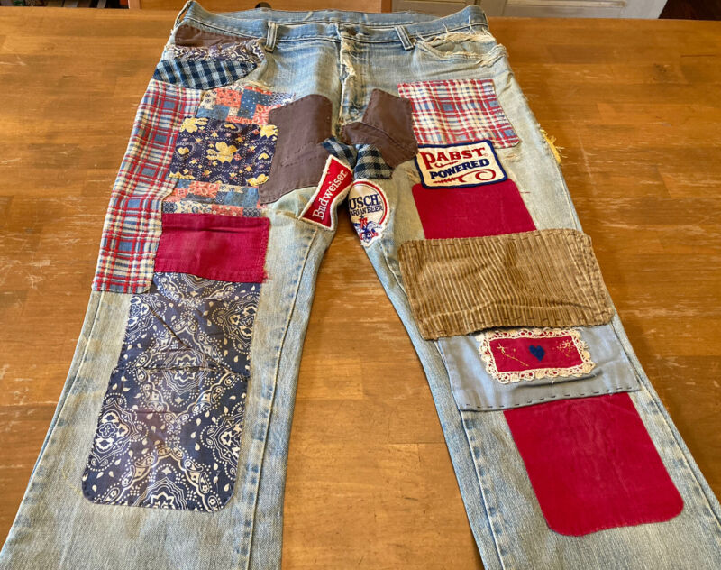 True Vintage 70s Beer Patched Denim Jeans Hippie Bell Bottoms Distressed
