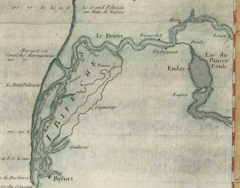 West Africa coastline Portendic Senegal c.1746 Bellin hand color old map