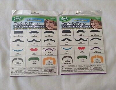 Lot Of 2 Mustache Finger Tattoos - Finger Mustache Tattoo
