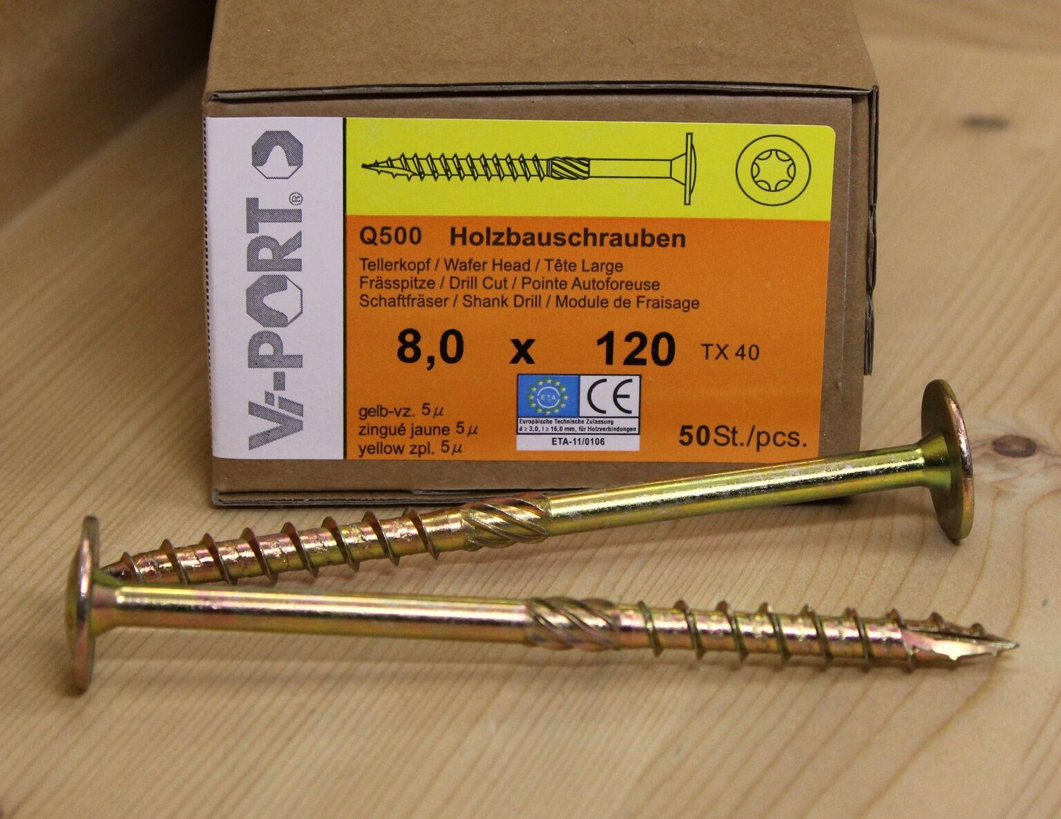 8 mm Vi-PORT® Tellerkopfschrauben EU-Zulassung Holzbauschrauben Tellerkopf TX40