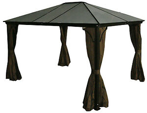 Alu-Hard-Top-Gazebo-Casa-10x12-Privacy-Curtains-Mosquito-Netting-Incld