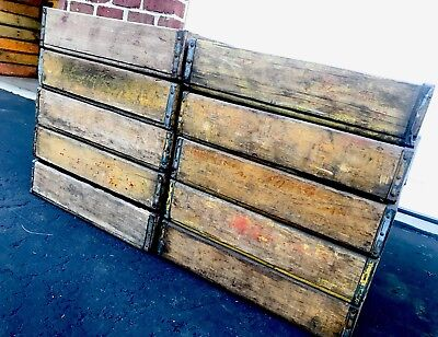 10 Vintage Yellow Faded Weathered Coca Cola Dr Pepper Wood Soda Pop Crates Lot