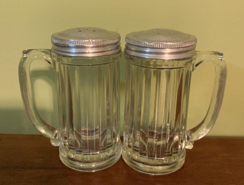 "Rare Vintage Heavy Glass Ribbed Salt &Pepper Shakers W/ Handles 4"" W/ Metal Lids"