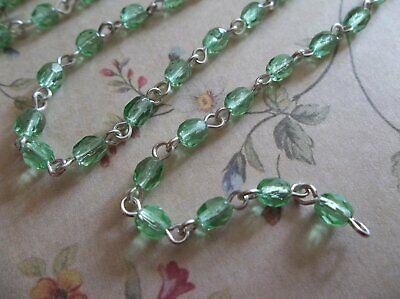 4mm Peridot Green Bead Chain - Silver Rosary Chain - Green Glass Beads - Qty 18