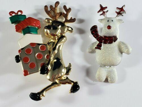 Christmas Holiday  Brooch Pin Lot  Reindeer Presents Glitter Movable Polar Bear