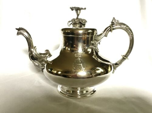RARE GERMAN 13 LOTH 800 SILVER TEAPOT by HENNIGER - BERLIN, 1860 ARMORIAL CREST