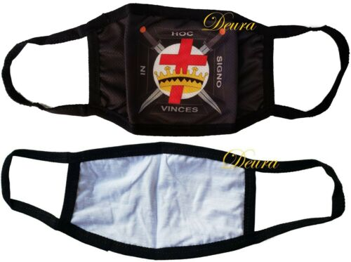 MASONIC KNIGHTS TEMPLAR MASON BLACK FACE MASK FREEMASON Washable Reusable