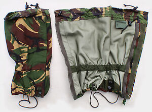 Gaitors, British Army Woodland Camo, Size Large, New