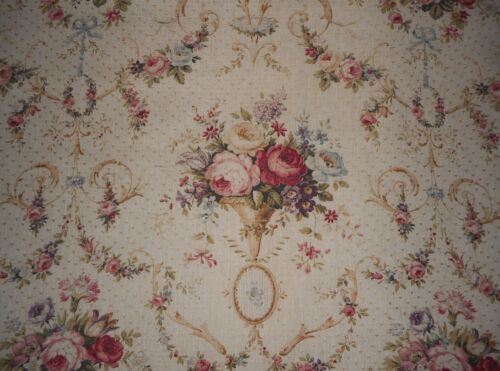 Sublime Antique French Floral Roses Garland Cotton Linen Fabric ~ Rose Blue