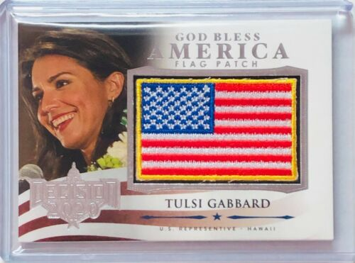 TULSI GABBARD 2020 LEAF DECISION CARD FLAG PATCH SILVER FOIL US CONGRESS REP HI
