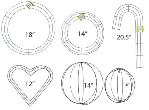 Metal Wire Wreath Frame Form  Circle Rings, Candy Cane, 3D Orb globe, & Heart
