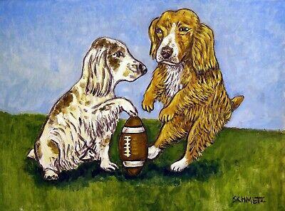 COCKER SPANIEL DOG art PRINT abstract folk pop ART JSCHMETZ football gift