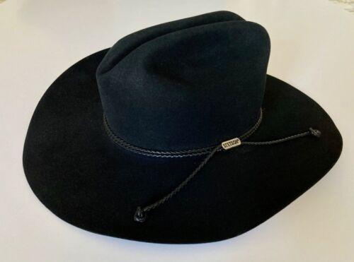 John B Stetson Vintage 4X Cowboy Black Beaver Long Oval Hat Leather Band, Size 7