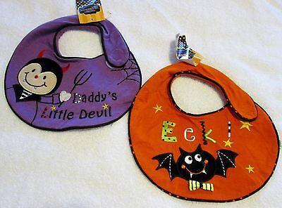 Little Devil Bib - Set of 2 new baby Halloween costume Bibs - Bat & Daddy's little Devil