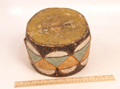"Antique Cochiti Pueblo Indian NM Painted Drum 8 1/2"" x 5"" c.1910s"