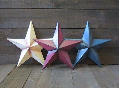 Set of 3 Red White & Blue 14 inch Barn Stars Metal Patriotic Americana Flag Tin