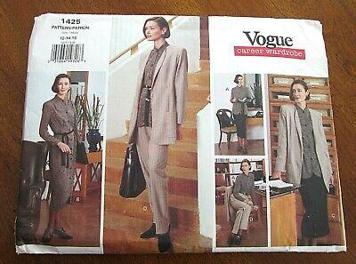 Vogue Career Wardrobe Dress Jacket Top Skirt Pants Women 12 14 16 Uncut Jacket Top Skirt Pants