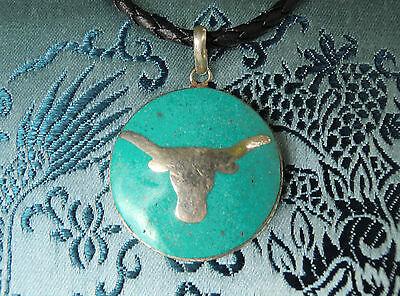 Wunderschönes Silber Amulett Türkis aus Nepal mit YAK / Büffel-Kopf