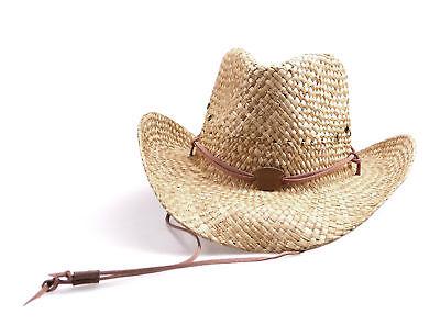 Strohhut mit Kinnband Sonnenhut hellbraun Westernhut Cowboyhut Stroh Sommer Hut