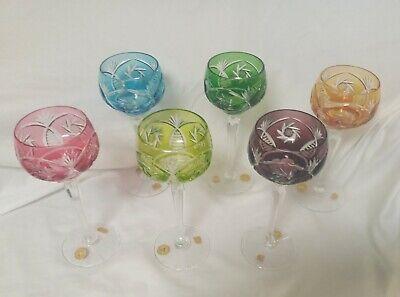 Rare Hangeschliffen Echt Bleikrisstal Set Of 6 Muti Colored Wine Glasses