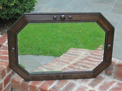 Antique English Oak Jacobean Tudor Style Octagonal Framed Beveled Wall Mirror for sale  Tyler