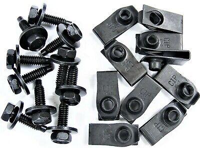 """Ford Mercury Lincoln Fender Bolts w// Long /""""U/"""" Nuts 1//4-20 x 15//16/"""" Black"""