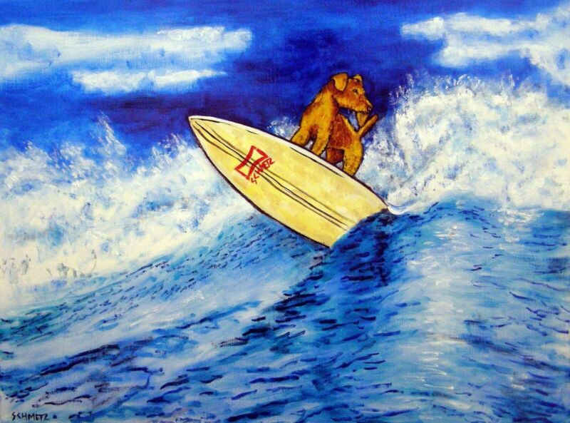 airedale terrier surfing  dog art print 8x10