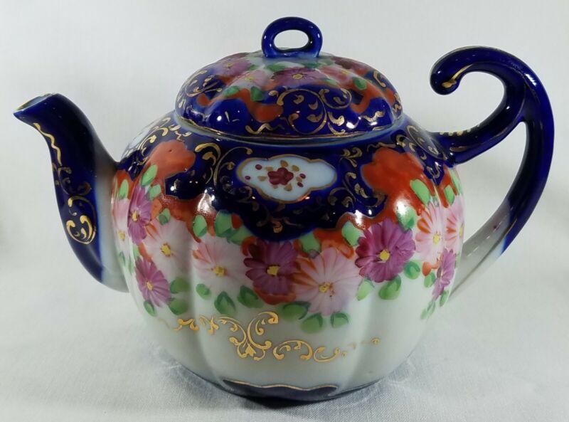 Antique Nippon Teapot Hand Painted Cobalt Blue Orange Pink Green Floral Gold