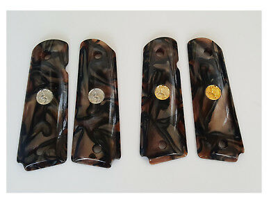 AJAX Grips For 1911 Full Size GRIPTILIAN Colt Factory Medallions Gold OR Silver
