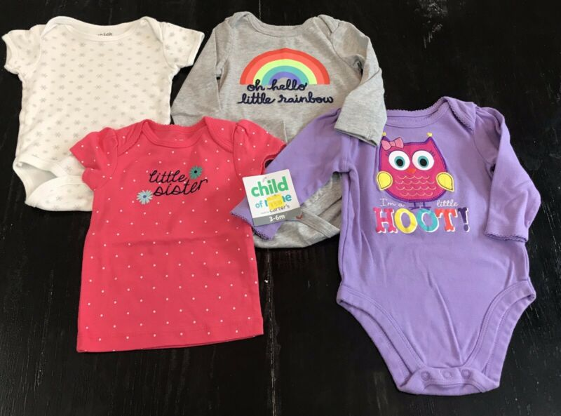 Lot of 4 Baby Girl Clothes  3-6 Months Top One Piece Outfits Sister Owl Rainbow