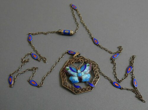 vintage CHINESE EXPORT SILVER  ENAMEL BUTTERFLY PENDANT & NECKLACE