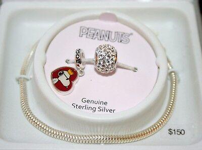 Peanuts Snoopy Sterling Silver Crystal Bead Charm Bracelet NEW MIB $150 value