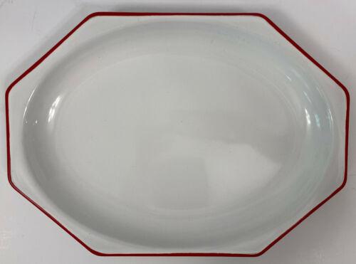 VINTAGE Enamel Ware White Red Trim Octagon Tray Platter Farmhouse 14 x 10