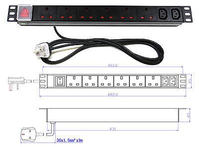 "19"" 8 Way Power Distribution Unit (6x UK & 2x IEC C13) Extension PDU Data Rack"
