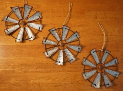 3 Amish Windmill Vintage Rustic Country Primitive Farm Christmas Ornaments Decor