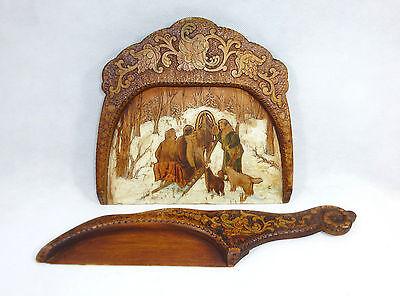 Tischschaufel Set mit feiner Brandmalerei Russland um 1890 Russia