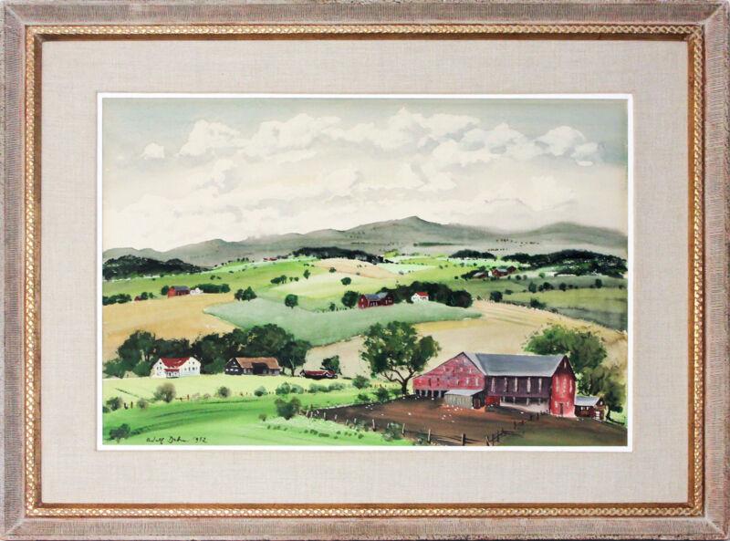"American Artist Adolf Dehn,signed Watercolor, ""sunny Day, Pennsylvania,"" 1952"