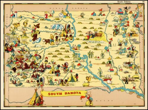 South Dakota 1935 pictorial map POSTER Ruth Taylor White 28771